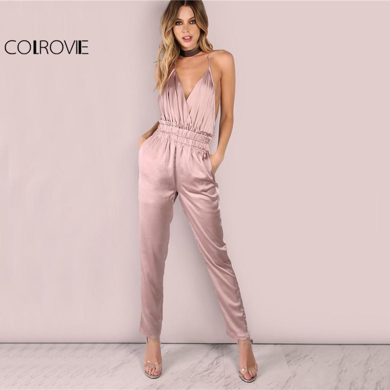 d1df004668d Wholesale-COLROVIE Dusty Pink Satin Slip Jumpsuit Sexy Cross Low ...