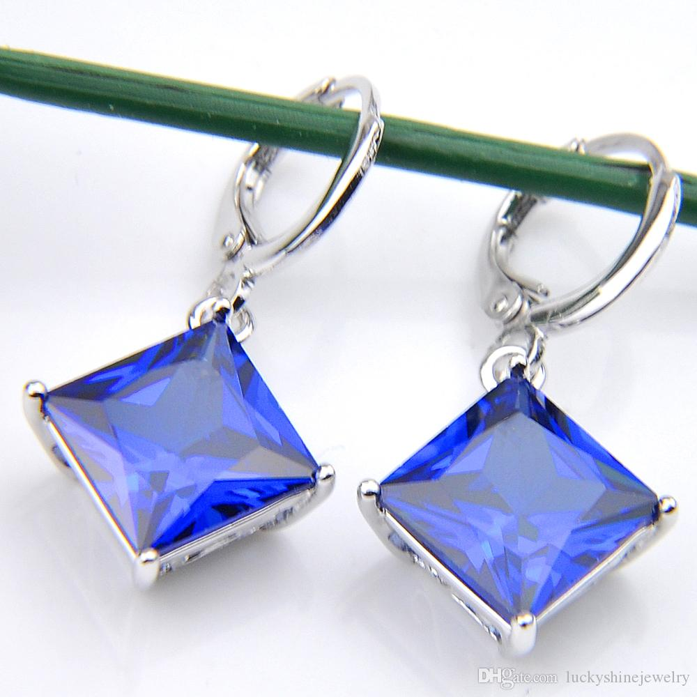 10Prs Luckyshine Classic Fashion Fire Square Blue Topaz Cubic Zirconia Gemstone Silver Dangle Earrings for Holiday Wedding Party