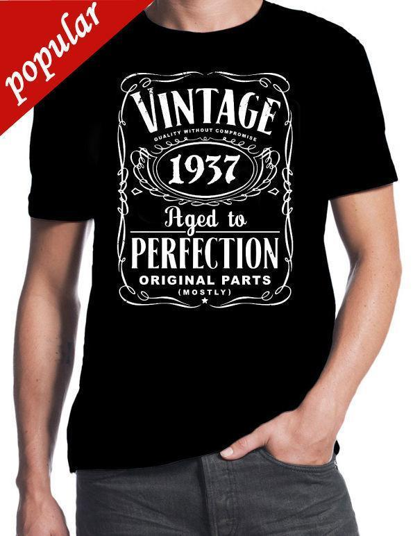 80th Birthday Vintage Aged To Perfection 1937 80 Years Old Gift Present T Shirt Cool Casual Sleeves Cotton Fashion Shirts In A Day Awesome Tee