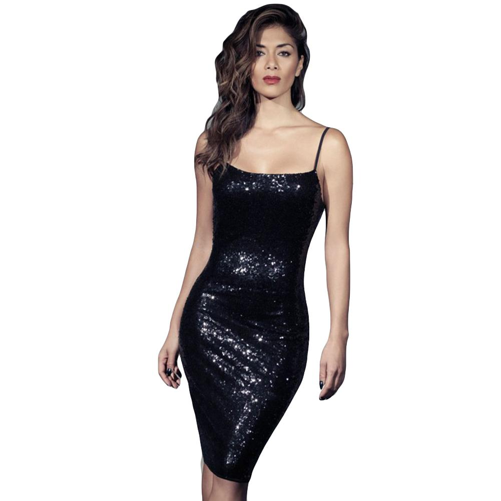 Sexy Black Sequin Dress Women Bodycon Spaghetti Strap Dress with Sequin  Backless Night Club Party Sparkling Luxury Summer Dress Online with   63.93 Piece on ... 22b03bcbc842