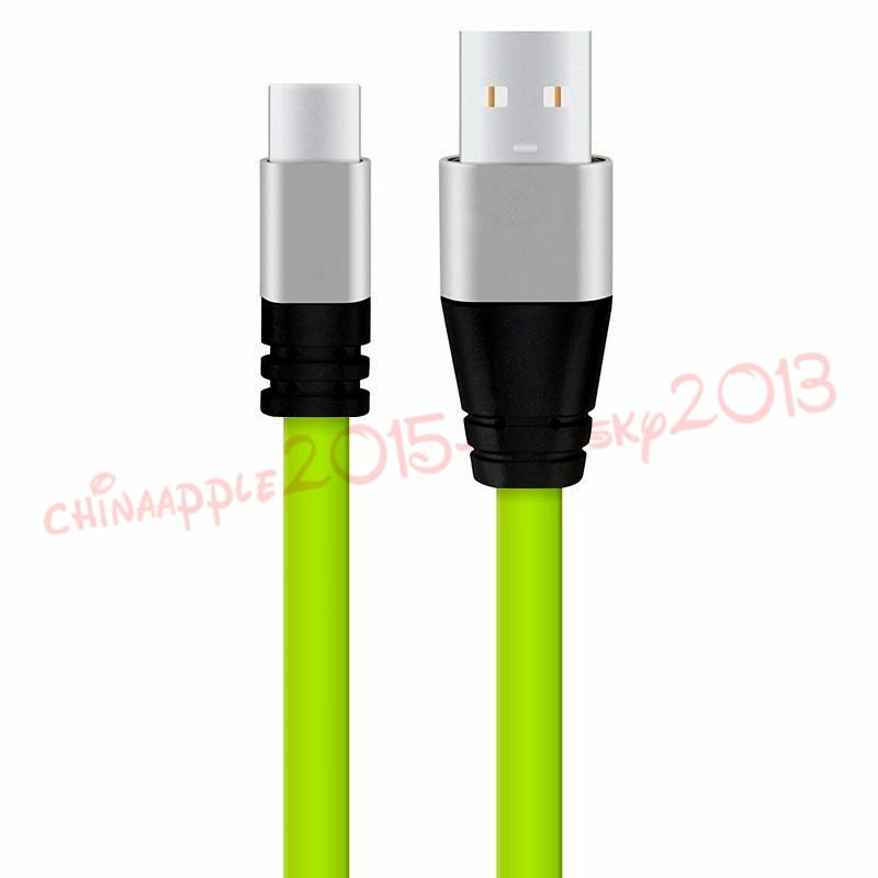3ft المعادن شقة المعكرونة مايكرو نوع C كابل USB 2A شحن الكابلات لسامسونج S6 S7 حافة S8 ملاحظة 8 HTC Android الهاتف