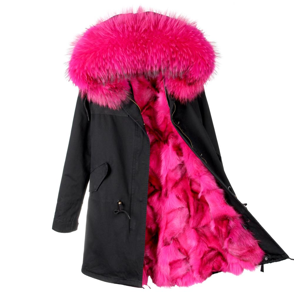 Korean Style New Winter Womens Fashion Big Real Fox Fur Hooded Cuff Parkas Jackets Female Thick Warm Faux Lining Coats Outwear Parkas Women's Clothing