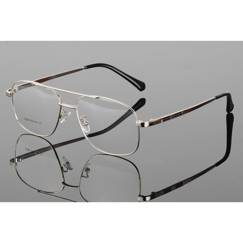 7dd8907bd0 Compre Retro Hombres De Metal Marco Grande Gafas De Piloto Doble Viga Gafas  Transparentes Marco Gafas De Vidrio Transparente Monturas De Gafas H5 A  $38.11 ...
