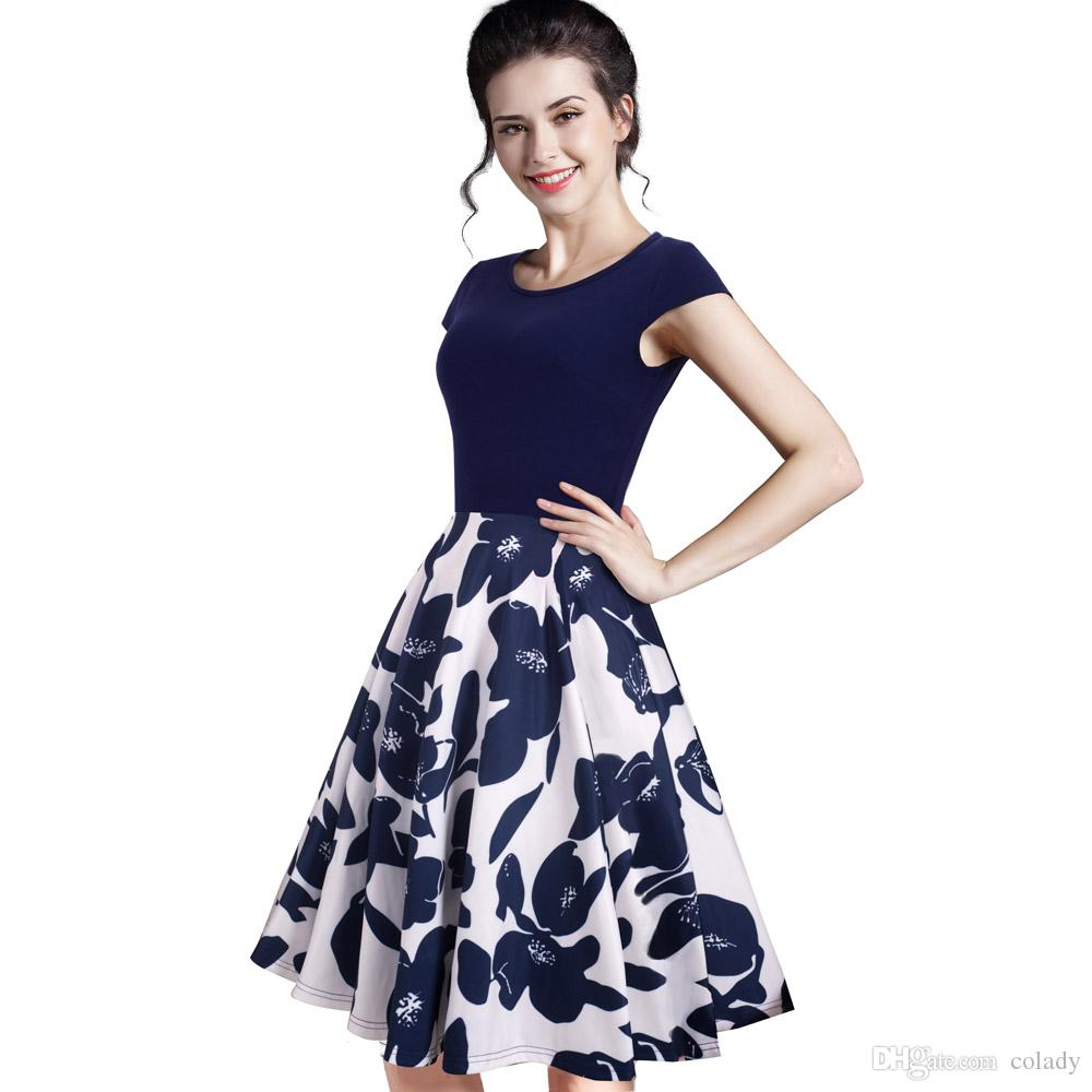 b10de16c340 2019 2018 New Summer Floral Casual Stylish Elegant Print Charming Women O Neck  Sleeveless Zipper Work Office Expansion Dress From Colady