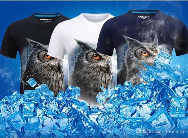 Men Tshirt Short Sleeve Summer 2018 Tops Casual 3D Print T Shirt O Neck Tees Plus Size Brand Animal Moon Owl Black Blue White