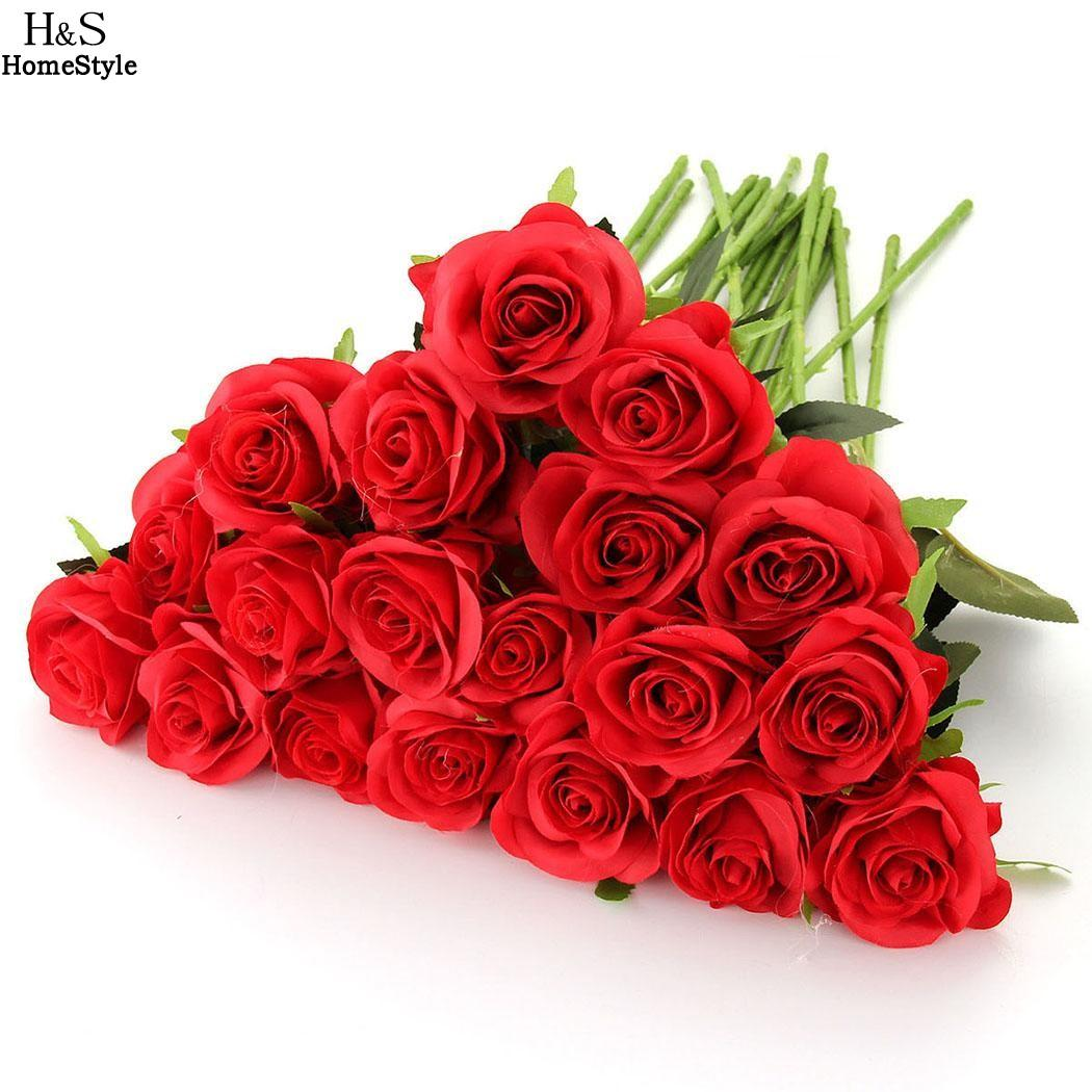 2018 Wholesale Red Rose Artificial Flowers Real Looking Faux Roses