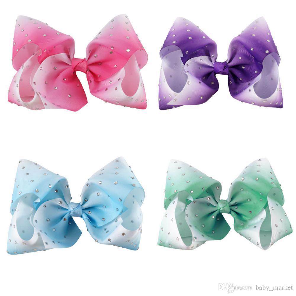 HOT 6inch Large Ombre Full Rhinestone Hair Bow With Clip Girl Dance HairPin Boutique Hair Accessories For Kids /
