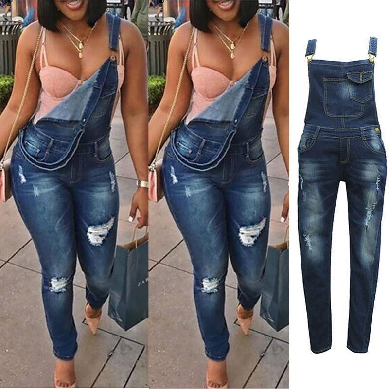 Compre Nova Moda Feminina Solto Suspender Jeans Jeans Macacões Das Senhoras  Casuais Denim Soltos Macacões Roupas Femininas De Vanilla01 54dca723942