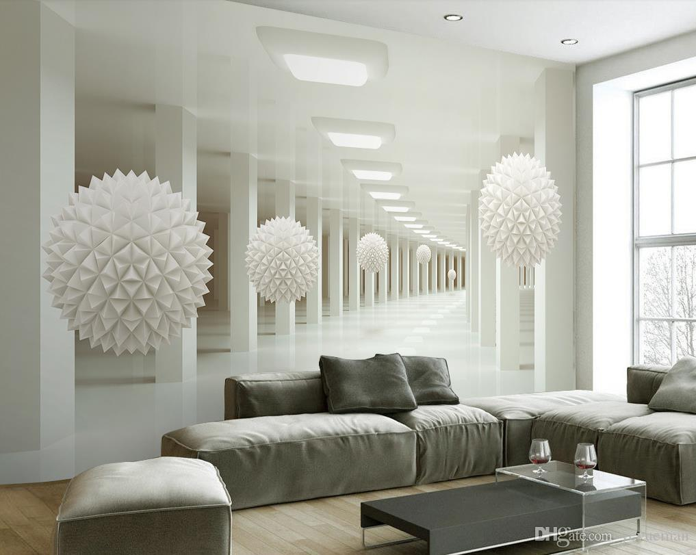 Пользовательские нетканые обои современный белый шар обои спальня гостиная диван телевизор фон фото обои фрески