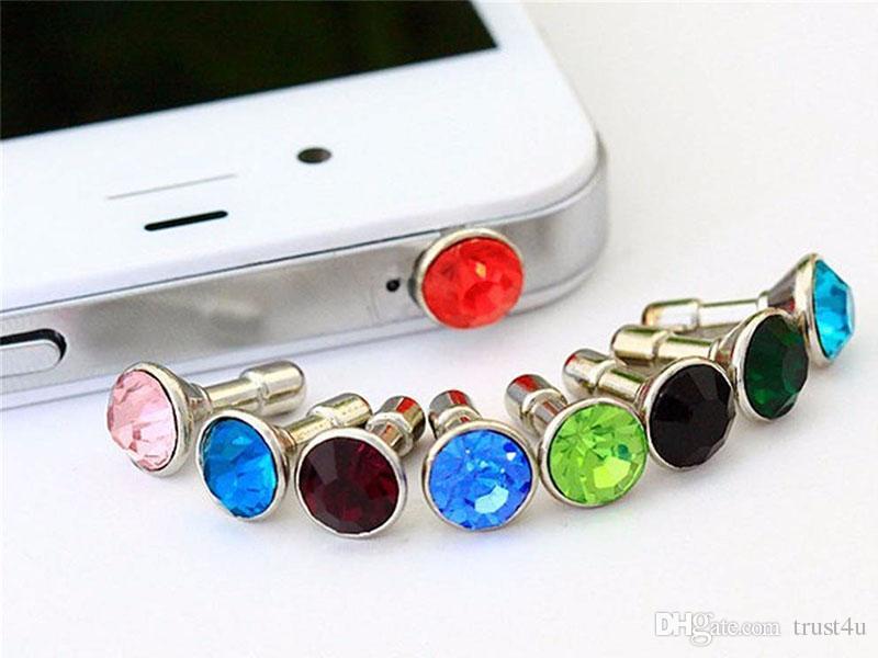 Mini 3.5mm Jack Crystal Rhinestones Cellphone Charms Earphone Audio Headphone Anti Crown Dust Plug Phone Crystal