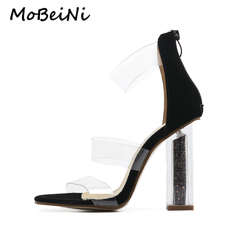 Women Gladiator Roman Sandals PVC Clear Transparent Strappy Ankle Strap  Crystal Block High Heel Pumps Wedding Party Shoes Woman Heels Gladiator  Sandals From ... 737123649b71