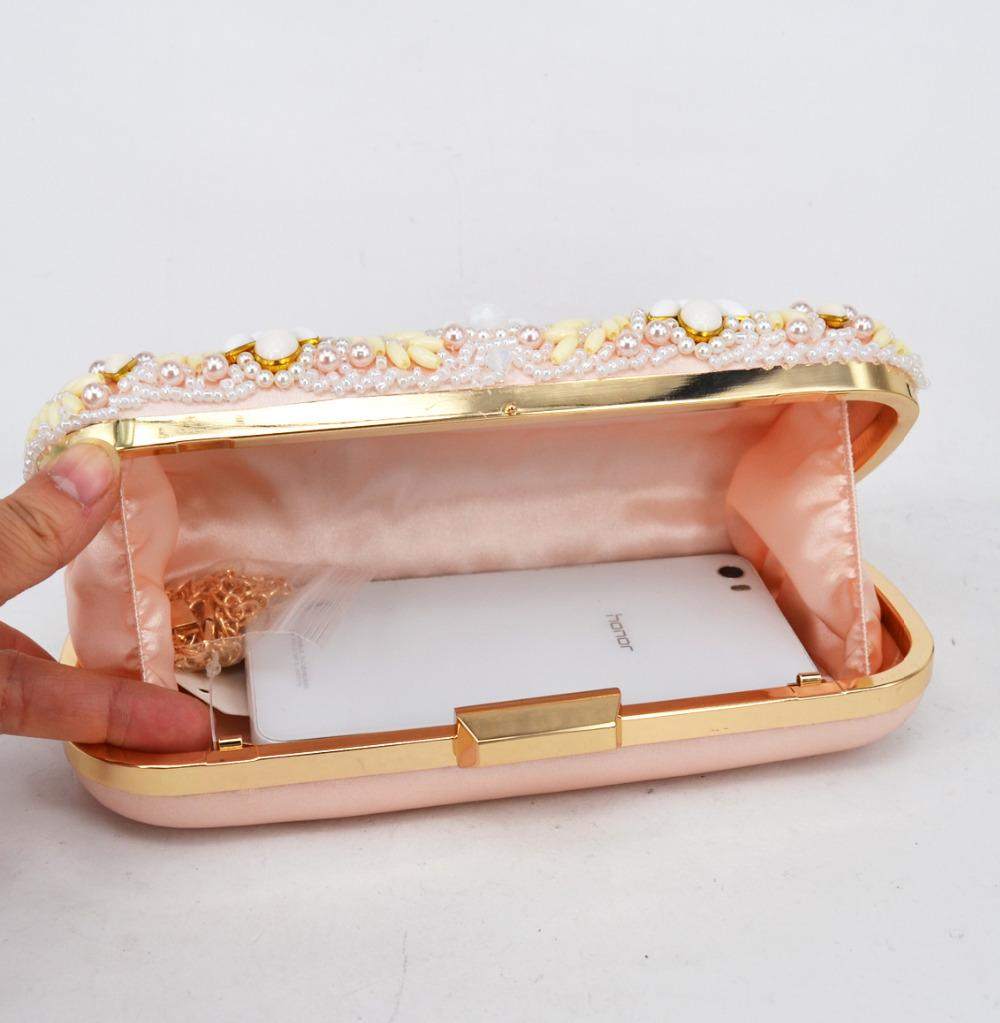 Newest beaded Evening Bag Pink Pearl Clutch Bag pochette soiree female bag Wholesale Prom Wedding Ladies Purse Day Clutches 807