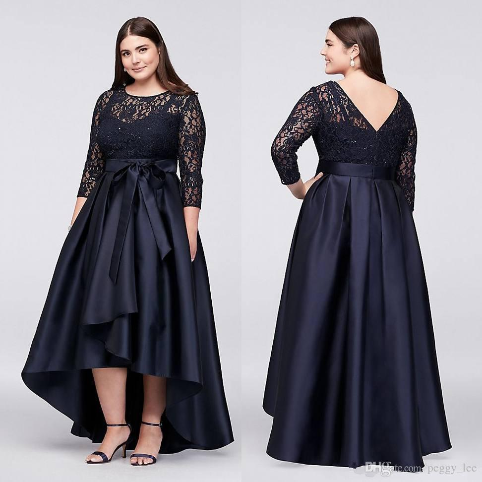 Navy Blue Plus Size High Low Formal Dresses With Half Sleeves Sheer Jewel  Neck Lace Evening Gowns A Line Cheap Short Prom Dress Corset Dresses Debs  ...