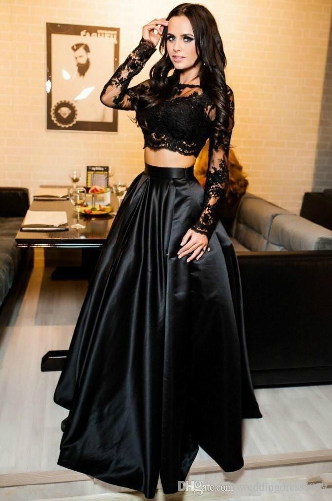 Abiti da sera arabi sexy in due pezzi Pizzo a maniche lunghe in pizzo nero Plus Size 2018 Abiti da ballo donna da ballo in saudita 2018 Abiti da cerimonia