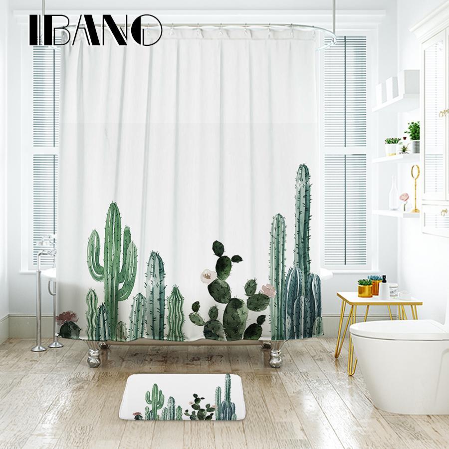 Ibano Tropical Cactus Shower Curtain Waterproof