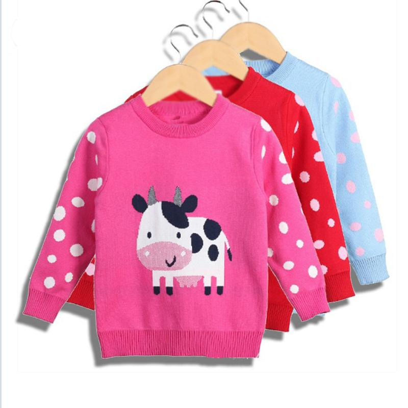 ca5a76d8d Kids Girls Clothes O-neck Pullover Sweater For Girls Cartoon Kids ...