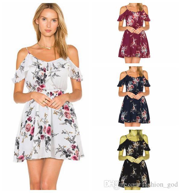 cd1bd85b4c Dresses Women Bohemian Floral Print Dress Sexy Chiffon Ruffle Dress Summer  Off Shoulder Beach Dresses Casual Strap Leaf Dress YFA134 Ball Gowns Wrap  Dress ...