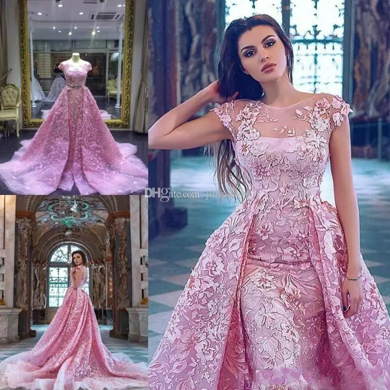 Pink Prom Dresses 2018 Sexy A Line Cap Sleeve Floor Length Lace