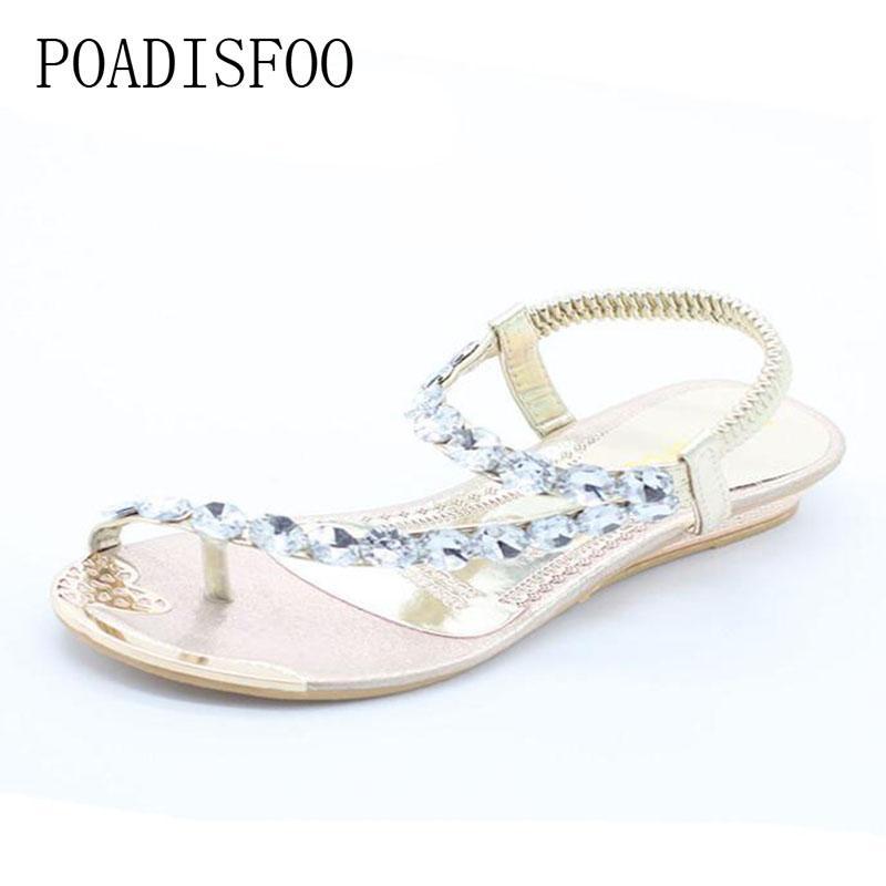 ea170435 Compre Sandalias De Verano Poadisfoo Mujeres Sandalias Planas Dedo Del Pie  Bohemia Moda Zapatos De Mujer .Hykl 8809 1 A $41.2 Del Bestname | Dhgate.Com