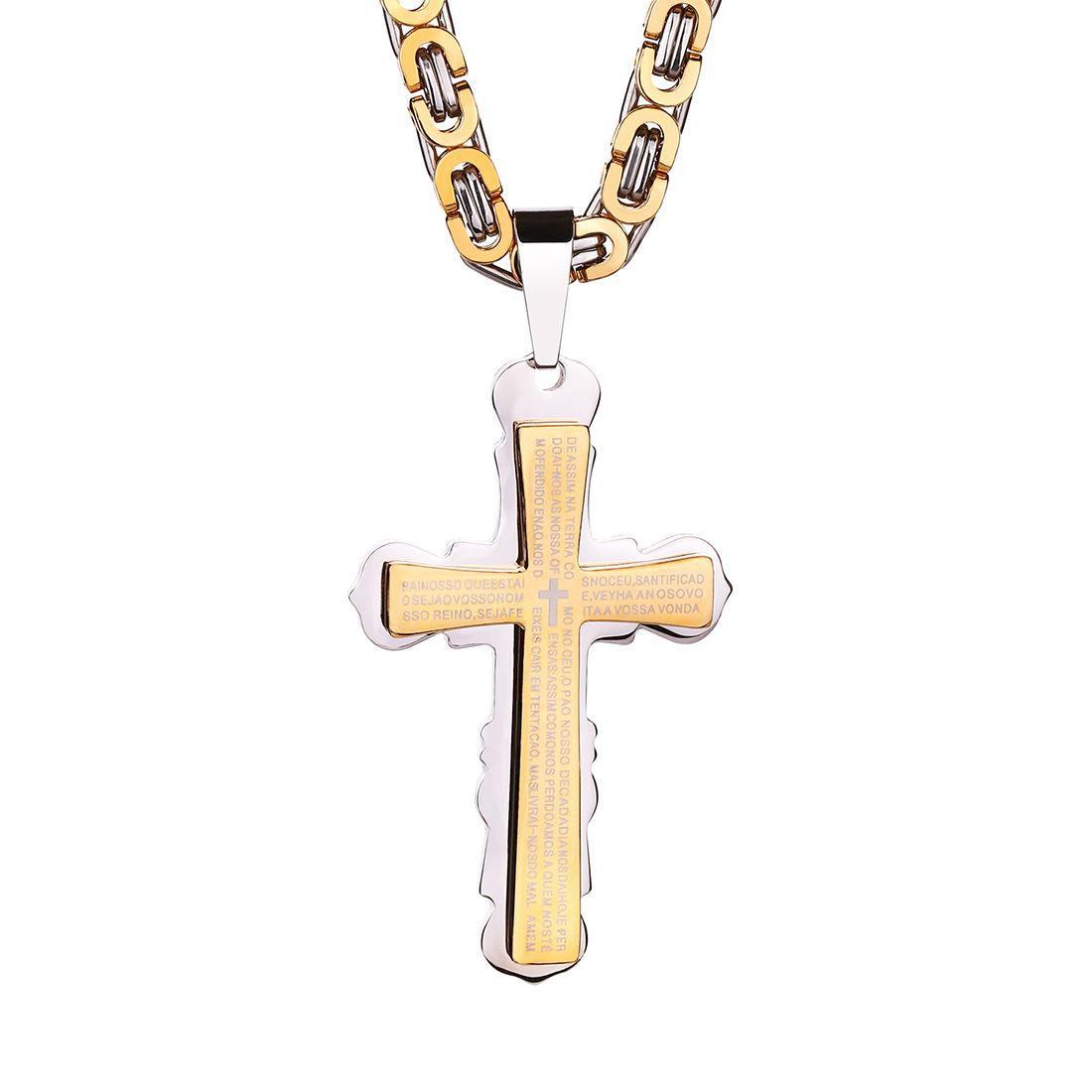 Top quality Stainless steel Cross necklaces Bible verse Christian Jesus Crucifix pendant Biker Chain For women&men Titanium steel Jewelry