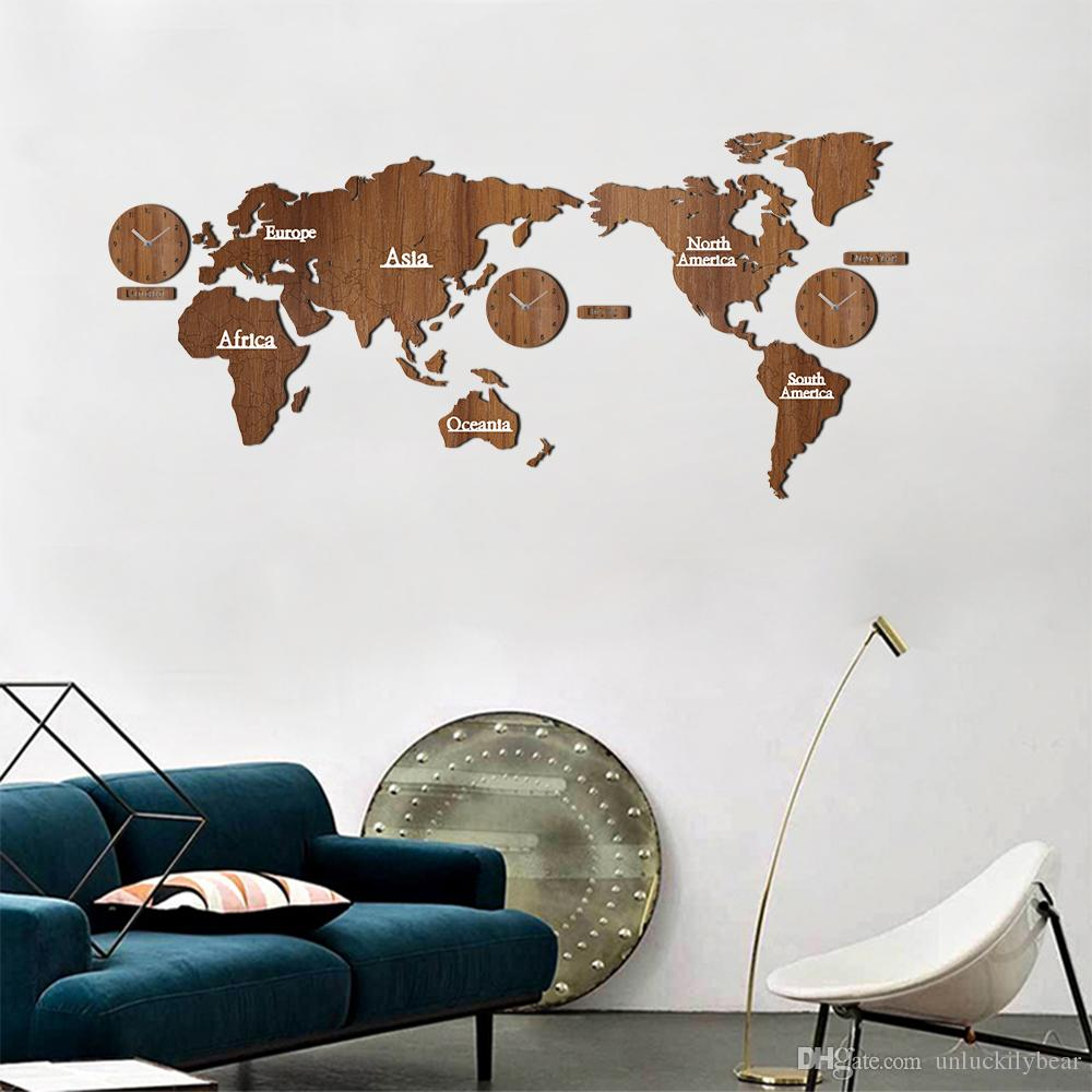 Creative Wooden World Map Wall Clock 3d Map Decorative Design Home