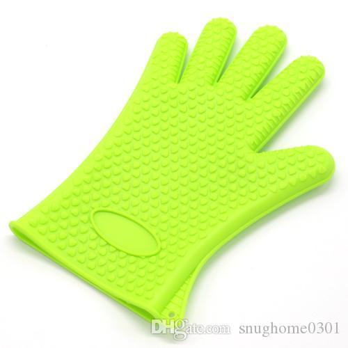 FDA Silicone Oven Mitt Pot Holder Baking Glove Kitchen Glove Cooking Mitt Heat Resistant Anti Slip BBQ Glove 142G
