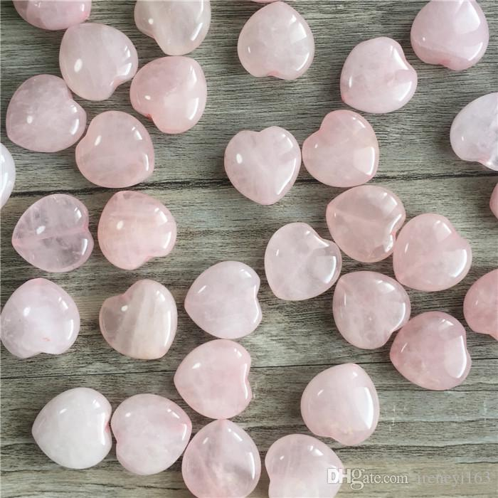 DIY Jewelry Beads Natural Gemstone Rose Quartz Heart Shape 20*20*9mm Loose Stones Through Hole For Earrings Bracelet Charms
