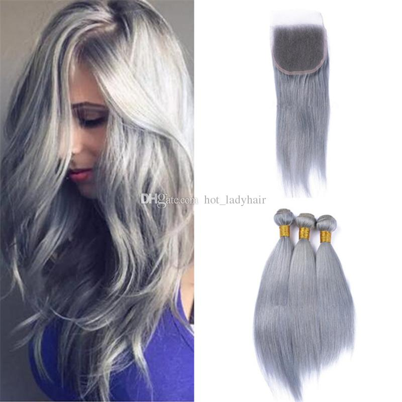 2018 Full Head 3 Bundles Grey Human Hair Weaves With Lace Closure