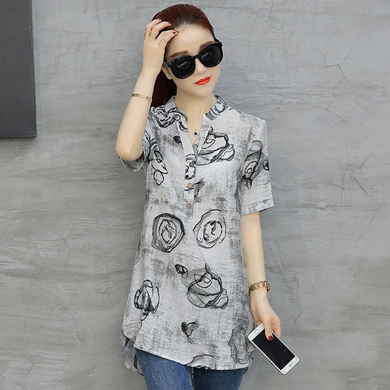 87069d6f5753c Retro Plus Size 3XL Slim V Neck Blouse Women Geometric Pattern Print Tops  Short Sleeve Elegant Loose Print Casual Shirt UK 2019 From Modeng08