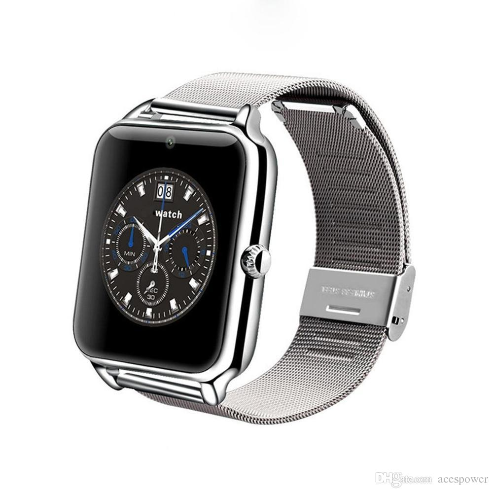소매 포장으로 스마트 시계 Z60 Smartwatches 스테인레스 스틸 무선 스마트 시계 지원 TF SIM 카드 안드로이드