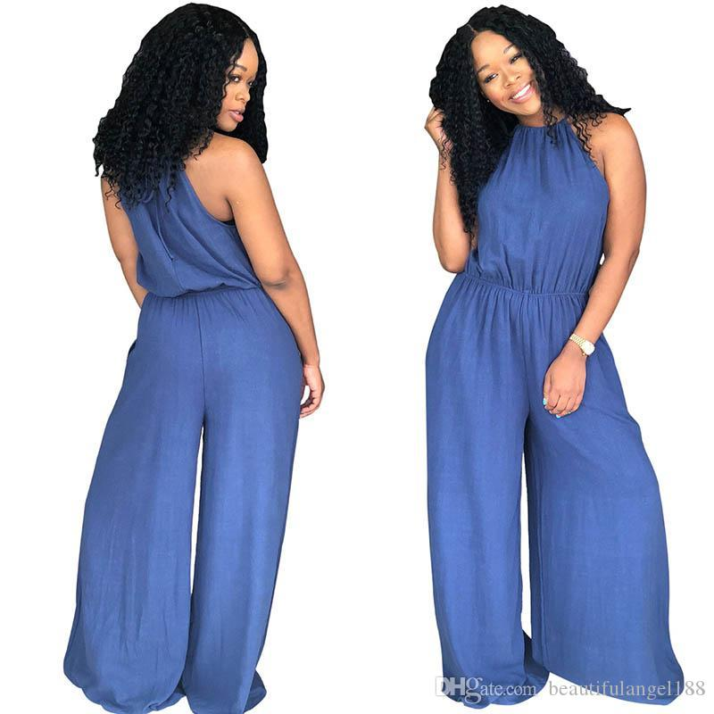 f334e33b6d 2019 2018 Summer Womens Jumpsuits Denim Halter Strap Sexy Jumpsuit Loose  Wide Leg Pants 3xl Fashion Casual Ladies Rompers From Beautifulangel188