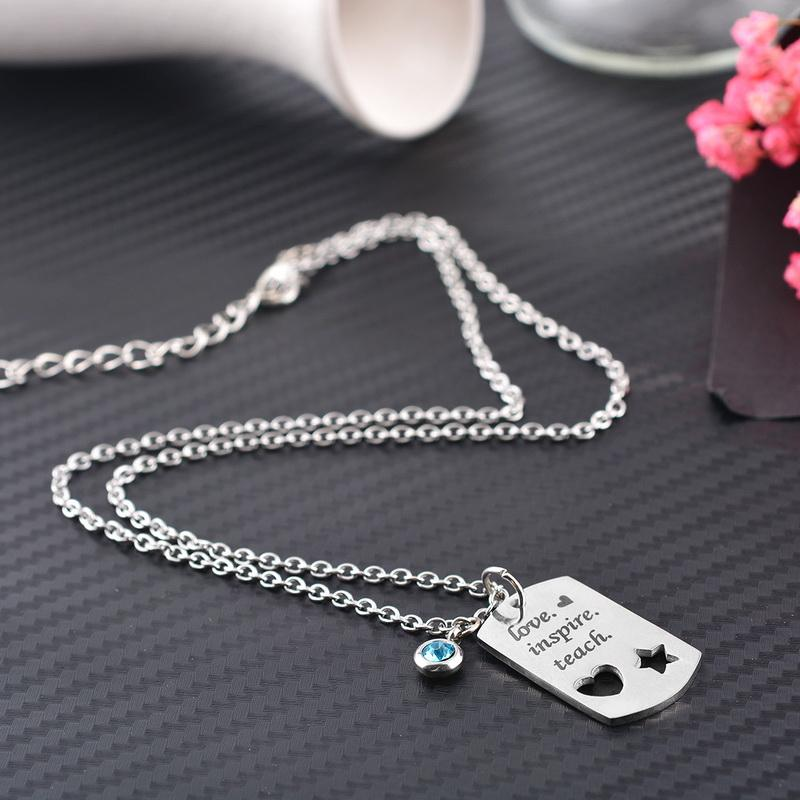 c4bcdc1e26 Wholesale FUNIQUE Free Engrave Stainless Steel Blank Pendants Necklace  Customized Name Words Couples Lovers Teacher Gifts Charms Necklace Heart  Shaped ...
