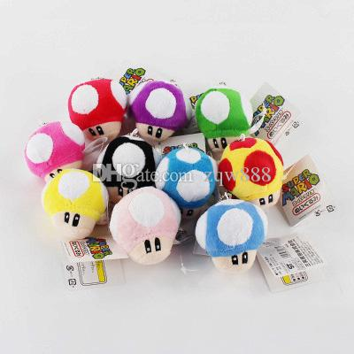 High Quality 100% Cotton 10pcs/Lot 6cm Mushroom Super Mario Bros Plush Toys Keychain Pendant For Child Holiday Gifts