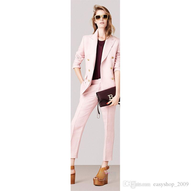 2018 Women S Suit Women S Double Breasted Solid Color Suit Two Piece