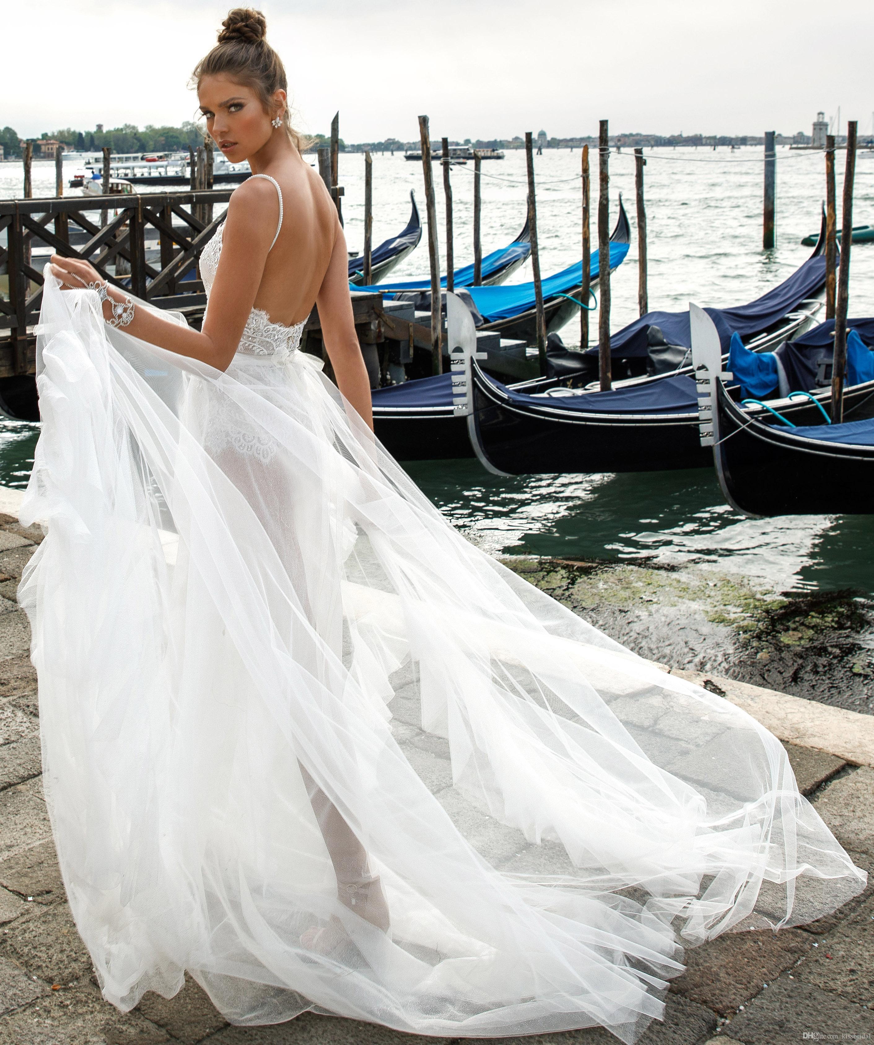 Discount Spaghetti Backless Wedding Dresses 2019 Julie