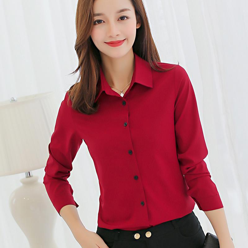 f190e27b1 Compre Camisa Coreana Ropa De Mujer Camisa Casual De Manga Larga Primavera  Verano Suelta Sólido Mostrar Camisa Delgada Moda Top Rojo A $28.35 Del  Wanglon04 ...