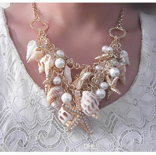 Gro New Fashion Wind Beach Conch Shell Star Pendant Collier Moonlight Gemstone Ocean Element collier pour femmes Bijoux Accessorie