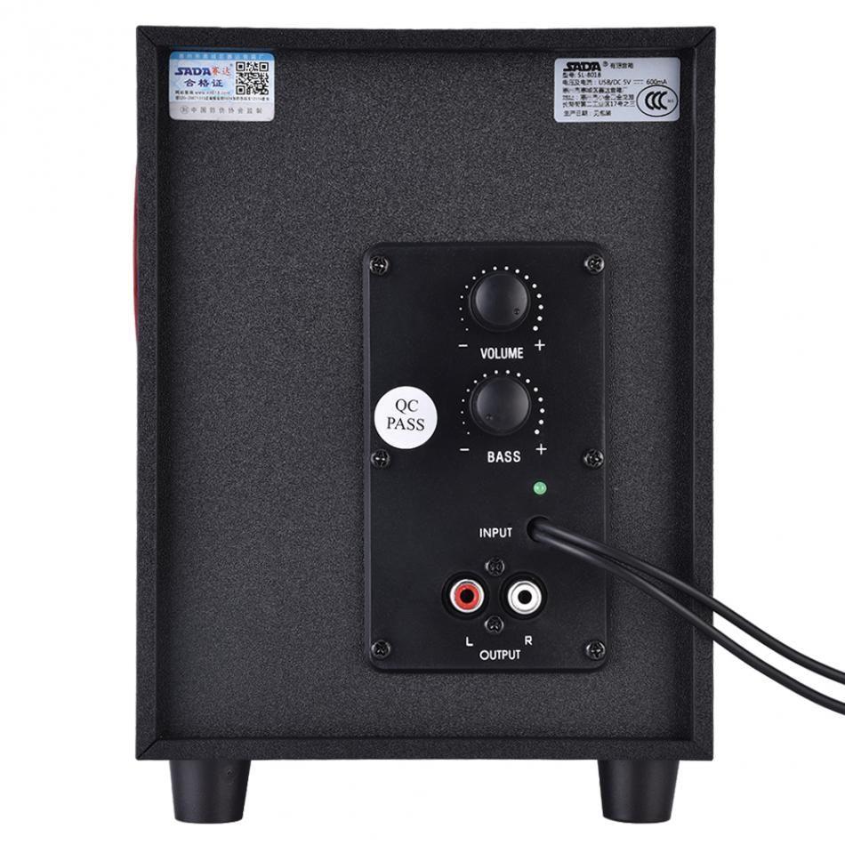 Combinación de madera Mini USB 2.1 Altavoces de computadora por cable Bass Music Subwoofer Subwoofer para celular Laptop PC Universal SL-8018