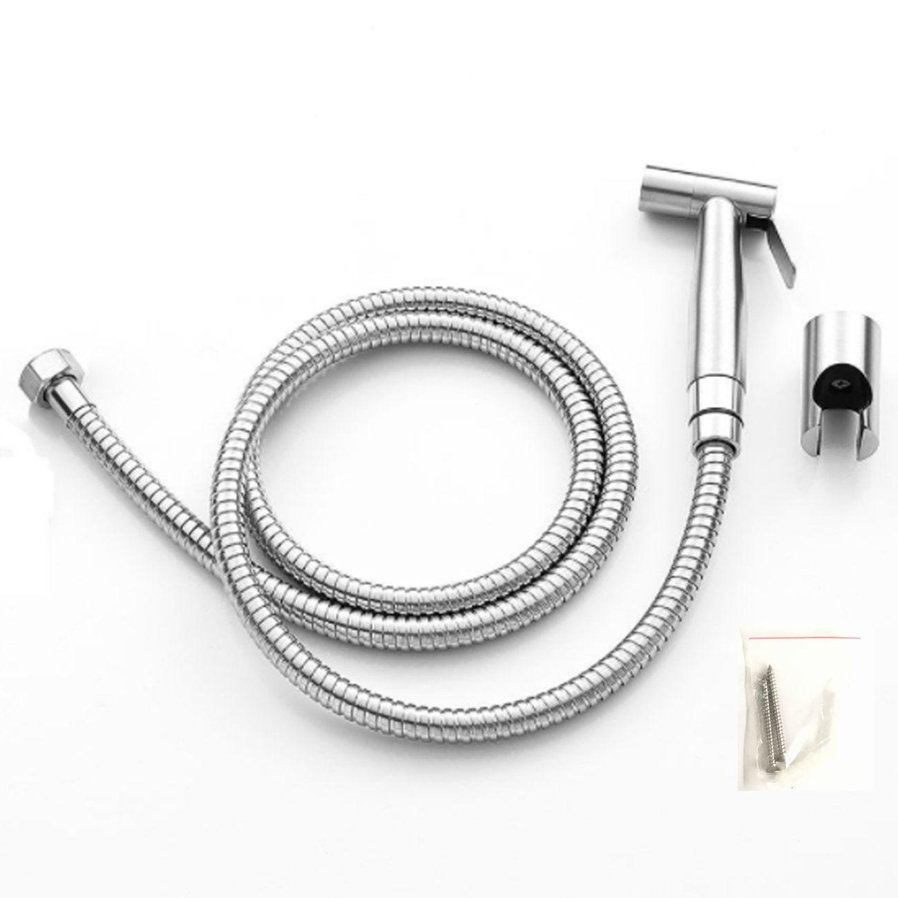 Bathroom Hand Held Toilet Bidet Sprayer Douche Shattaf Shower Spray & Wall Bracket Holder & 1.5m Hose SUS 304 Stainless Steel Cleaner Tool