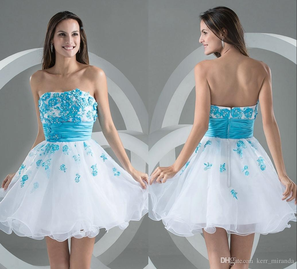 61bf4826f76 Plus Size Prom Dresses Short White Blue Cocktail With Appliques Sweetheart  Neckline Heart Above Knee Length Party Dresses DH376 Silver Prom Dress  Stores ...
