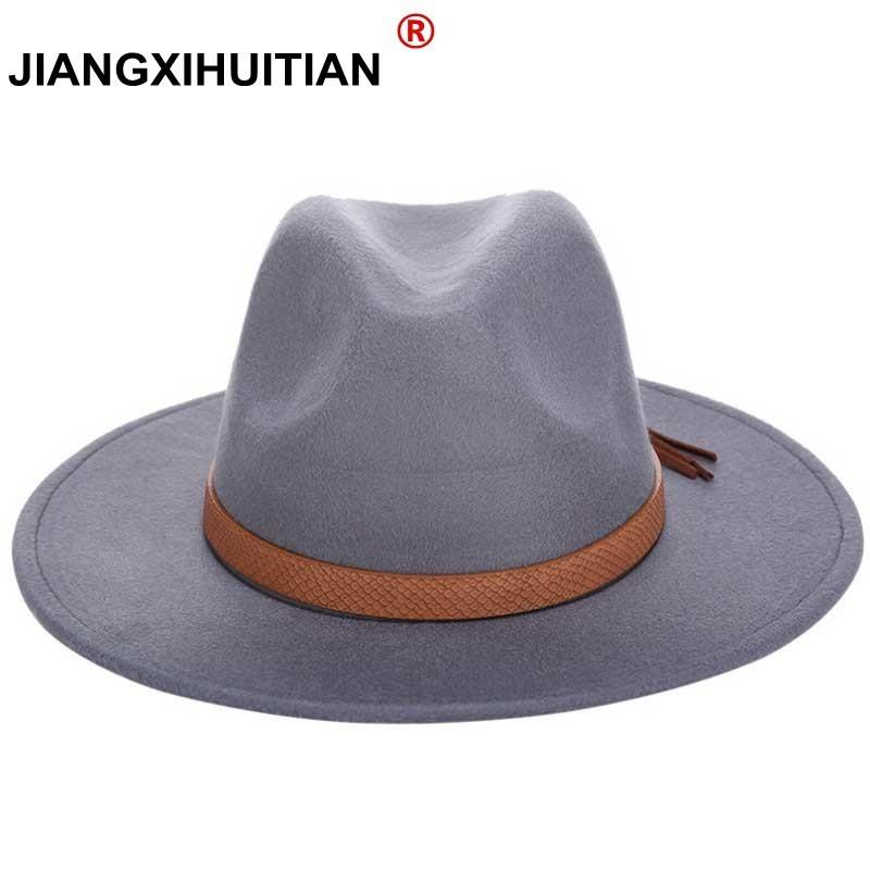 9b39bbfad7477 2018 Hot Autumn Winter Sun Hat Women Men Fedora Hat Classical Wide ...