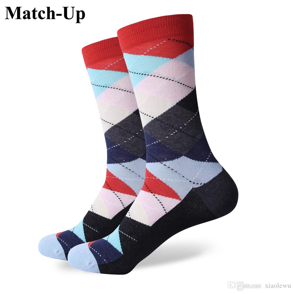 2016 Men's combed cotton brand men socks,colorful plaid socks,free shipping,US size (7.5-12) 296