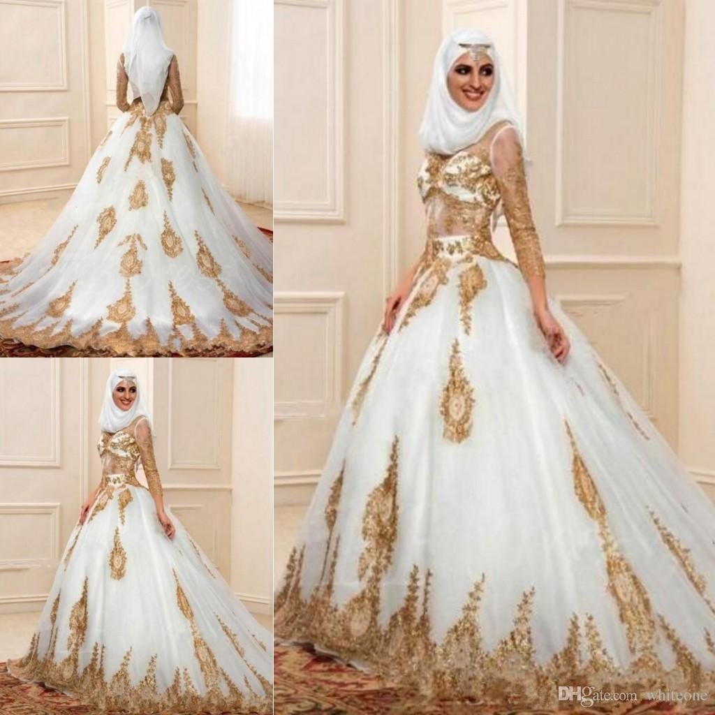 Discount 2018 Fashion Muslim Dubai Wedding Dresses 3 4 Sleeves With Gold  Appliques Arabic Bridal Gown Indian Style Engagement Dresses Robe De  Mariage ... b614f46c5037