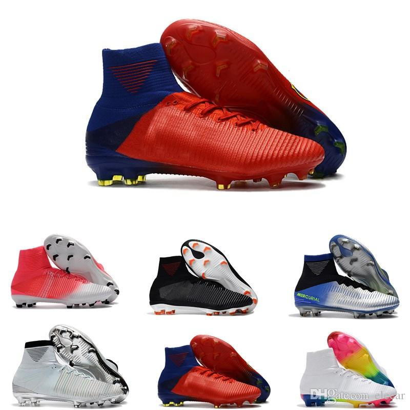 505c55fd9ec0 2019 DISCOUNT High Ankle Men Soccer Shoes Time To Shine Mercurial Superfly  V FG ACC Knitting Football Cleats Size39 45 From Elecar