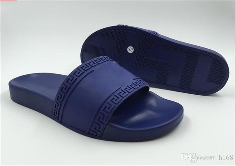 6a8d4f20dc8 New Europe Brand Fashion Men Striped Sandals Medusa Scuffs Causal Non Slip  Summer Huaraches Slippers Flip Flops Slipper Best Quality Size45 Pumps Shoes  ...