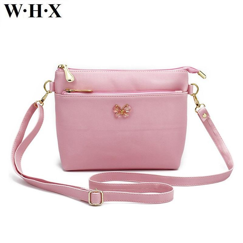 addf775380 WHX Women Messenger Bag CrossBody Bag Pink Bowknot Latest Design Fashion  Casual Female Shoulder Bags Pu Leather New Style Purse Wholesale Handbags  Cheap ...