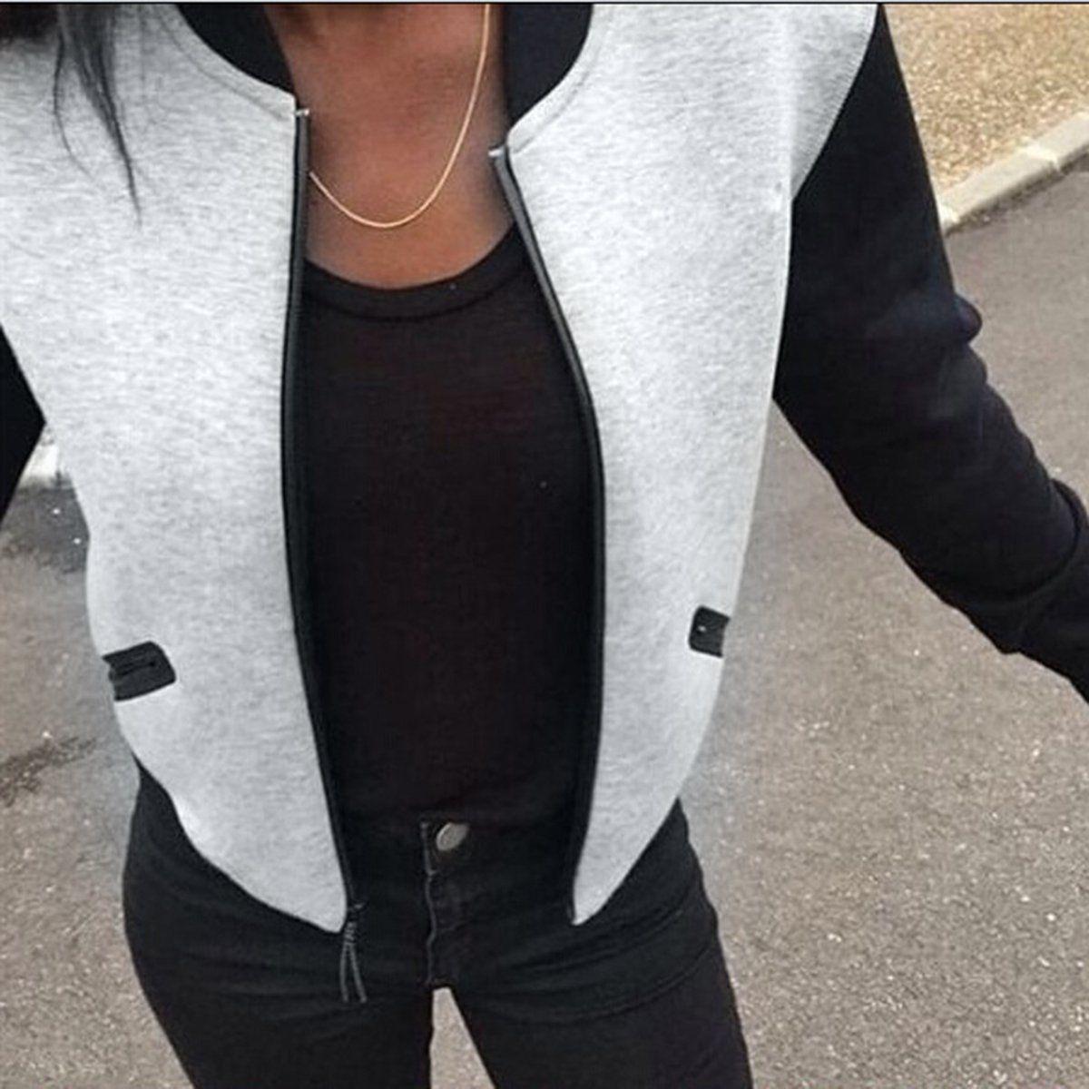 f76ebff7efb Puseky 2018 Hot Sale Fashion Womens Bomber Jacket Vintage Zip Up Biker  Stylish Padded Zipper Coat Top Blouse Autumn Winter Coats L18101001 Ladies  Jackets ...