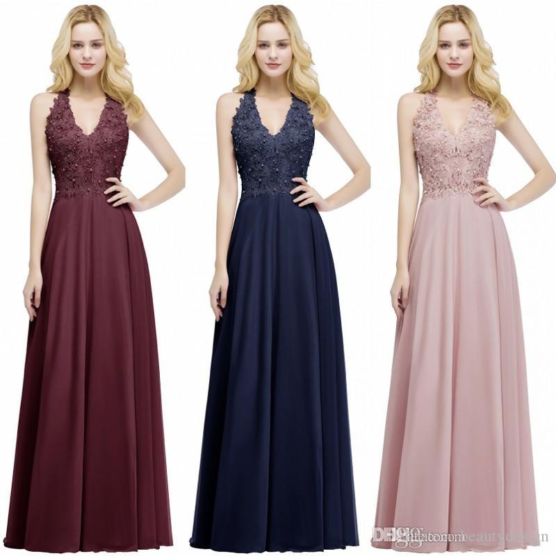 db0b458eb86 Real Photos Lace Chiffon Long Prom Dress 2019 Elegant Sleeveless A Line V  Neck Sequins Beaded Event Gowns Bridesmaids Dress CPS912 Prom Dresses For  ...
