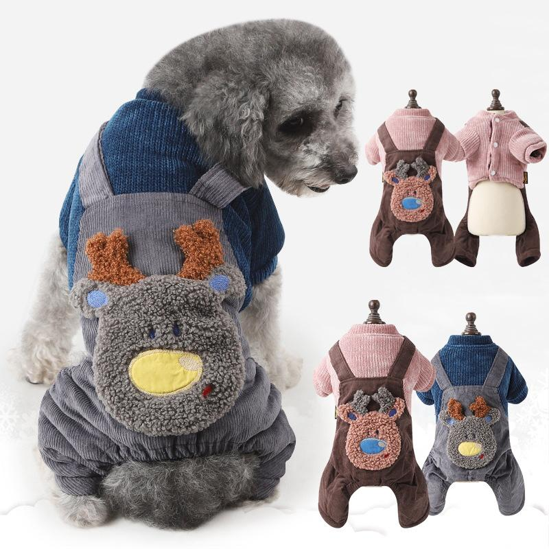 b61d4d93e86 2019 Thicken Knitted Pet Dog Clothes Fake Rompers Winter Warm Dog Coat  Jacket 4 Legs Puppy Jumpsuit For Small Dogs Chihuahua Outfit From Bassy168