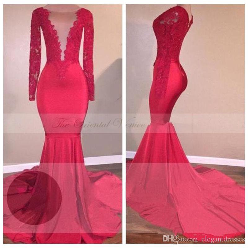 Şeffaf İnce Gelinlik Modelleri Dantel Aplikler Boncuk Kırmızı Örgün Akşam Partisi Modelleri Özel Uzun Formal Elbise vestidos de Soiree elbiseler de soirée